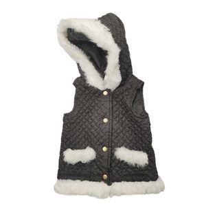 Savannah Quilted Fur Trim Snap Button Vest 5